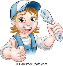 Cartoon Mechanic or Plumber Woman Holding Spanner
