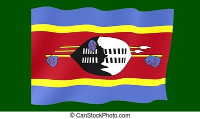 Swazi flag. Waving PNG. - Flag animation for using in foto's...