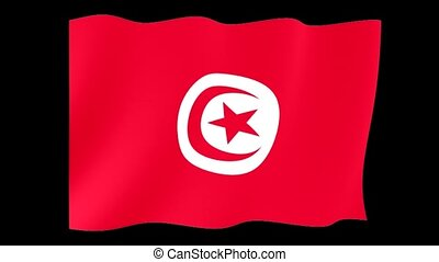 Tunesian flag. Waving - Flag animation for using in foto's...