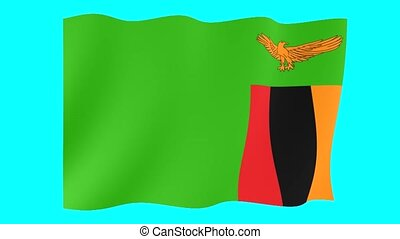 Zambian flag . Waving. - Flag animation for using in foto's...