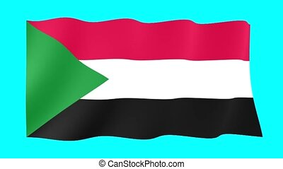 Sudanese flag . Waving . - Flag animation for using in...