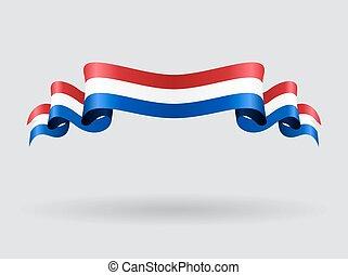 Dutch wavy flag. Vector illustration. - Dutch flag wavy...