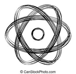 Abstract atomic symbol with black lines - Atomic symbol with...