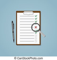 Search unfulfilled points - Folder with sheet and checklist...