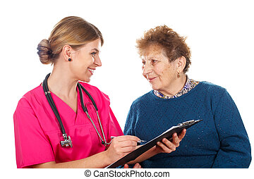 Medical insurance policy - Picture of a smiling physician...