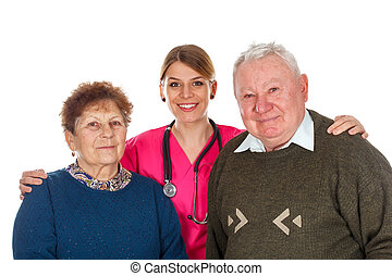 Aging couple with their kind assistant
