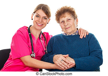 Let me help you - Picture of an elderly woman with her...