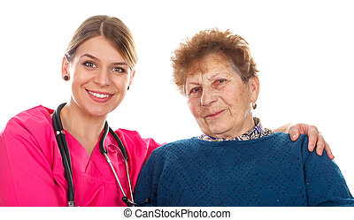 Elderly care - Picture of an old lady with her physician -...