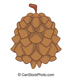 Pine cone icon, cartoon style - Pine cone icon. Cartoon...