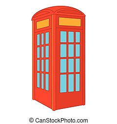 Red telephone box icon, cartoon style - Red telephone box...