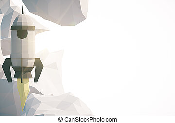 Startup concept - Abstract polygonal rocket ship and clouds...