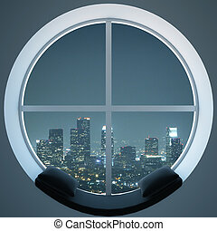 Round window with night city view - Cozy round window with...