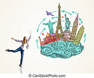 Traveling concept - Happy jumping woman on light background...