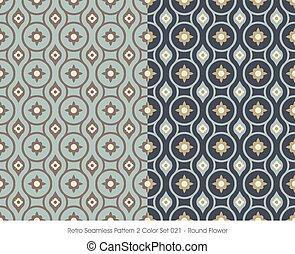 Retro Seamless Pattern Round Flower