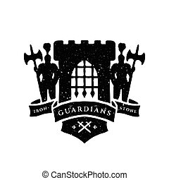 The fortress, Knights and ribbon for text. Heraldic emblems....