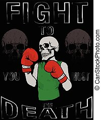 Skull T shirt Graphic Design Vintage Boxing Gloves vector...