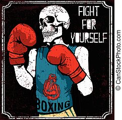 Skull T shirt Graphic Design Vintage Boxing Gloves vector illustration