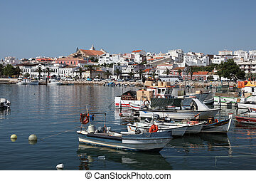Old harbor of Lagos, Portugal