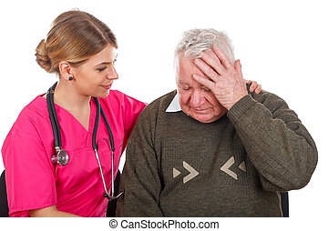 Migraine problems - Picture of an old man having a serious...