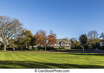 typical classical old house in the Hamptons in Indian Summer