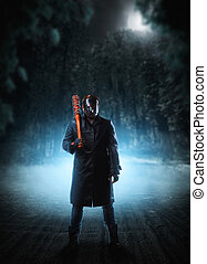 Evil embodiment in hockey mask and leather coat - Evil...