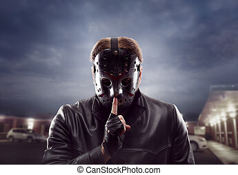 Bloody maniac in hockey mask show do not talk sign - Bloody...