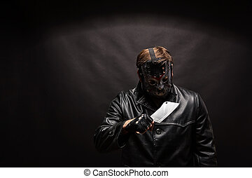 Bloody murderer in hockey mask with meat cleaver - Portrait...