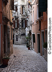 Street in the old town of Rovinj, Croatia