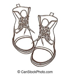 Two boots, laced - Hand Drawn Doodles vector Sketch. Two...