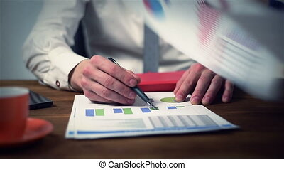 Businesspeople Analyzing Report - Two Businesspeople...