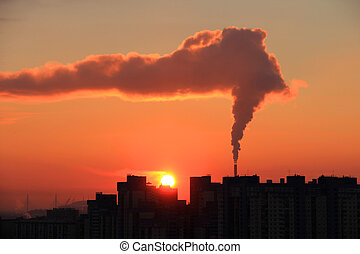 Sun and smokie - Smoke from industrial chimneys at dawn