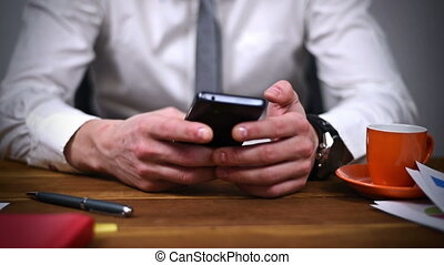 Trader Using Smartphone - Businessman Sitting In Office And...