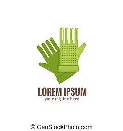 Garden gloves logo. Vector illustration green garden gloves...