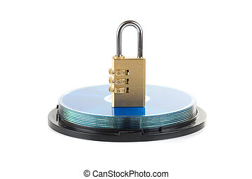 Data security concept: silver CD/DVD with combination lock
