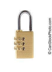 code lock - Close-up combination padlock isolated on white...