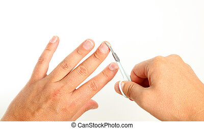 macho, Pessoa, corte, dedo, pregos, sobre, branca, fundo