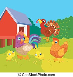 Hen With Rooster And Chickens - Vector illustration of hen...