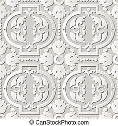 Vector damask seamless 3D paper art Round Dot Flower