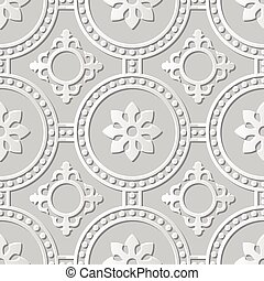 Vector damask seamless 3D paper art Round Dot Cross Flower