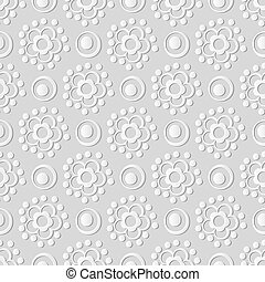 Vector damask seamless 3D paper art round cross dot line flower