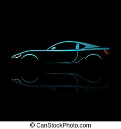 Blue sport car silhouette with reflection.