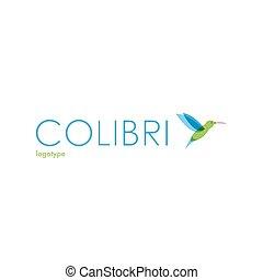 Vector Colibri logo. - Colibri logo. Bird logotype. Blue,...