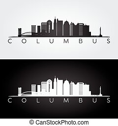 Columbus skyline silhouette. - Columbus USA skyline and...