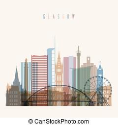 Glasgow skyline poster. - Transparent style Glasgow skyline...