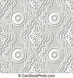 Vector damask seamless 3D paper art Round Dot Line Flower