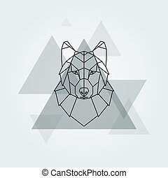 Grey wolf head. - Geometric vector animal grey wolf head...