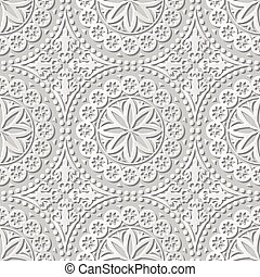 Vector damask seamless 3D paper art Round Dot Flower Lace