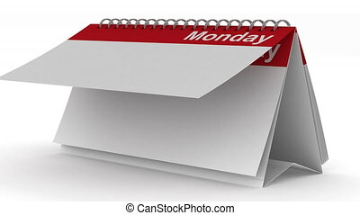 Weekly calendar on white background. 3D image render