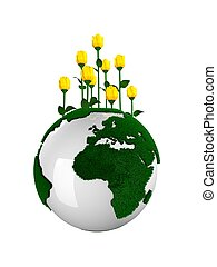 fertile planet - fertile earth planet with flowers on top,...