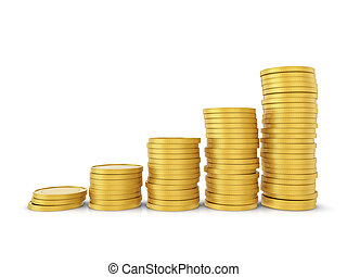 Gold coins on a white background. 3D illustration.